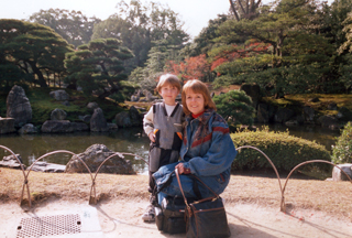 Susan with her youngest son in Kyoto in 1997