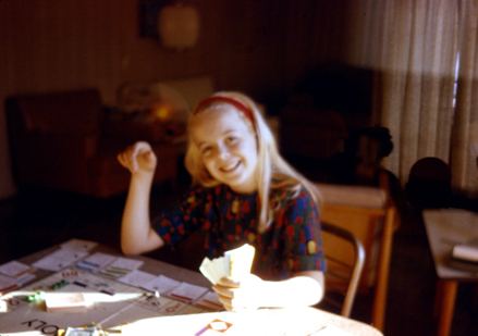 Susan plays Monopoly in the early 1960s